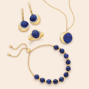 Lapis and .12 ct. t.w. Diamond Crescent Moon Drop Earrings in 14kt Yellow Gold