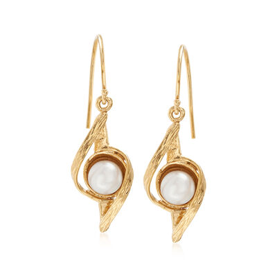 Cultured Pearl Twisted Swirl Drop Earrings in 18kt Gold Over Sterling, , default
