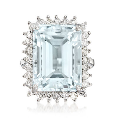 17.00 Carat Aquamarine and 1.00 ct. t.w. Diamond Cocktail Ring in 14kt White Gold, , default