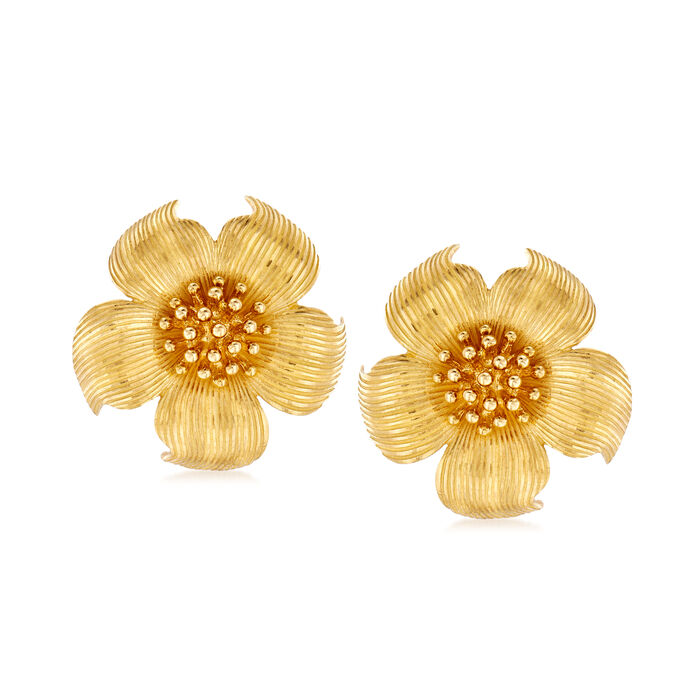 C. 1980 Vintage Tiffany Jewelry 18kt Yellow Gold Magnolia Flower Earrings, , default
