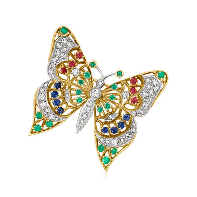 C. 1970 Vintage 1.07 ct. t.w. Diamond and .95 ct. t.w. Multi-Gemstone Butterfly Pin in 18kt Yellow Gold