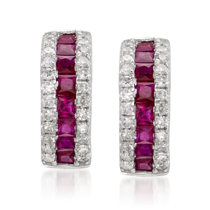 """1.10 ct. t.w. Ruby and .30 ct. t.w. Diamond Hoop Earrings in 14kt White Gold. 3/8"""", , default"""