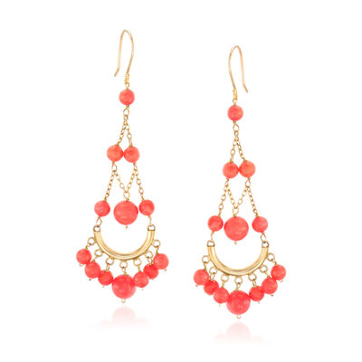 4-7mm Coral Chandelier Drop Earrings in 14kt Yellow Gold