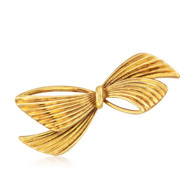 C. 1980 Vintage Tiffany Jewelry Bow Pin in 14kt Yellow Gold, , default