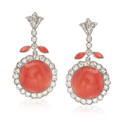 C. 1930 Vintage Pink Coral and 2.80 ct. t.w. Diamond Floral Drop Earrings in Platinum, , default