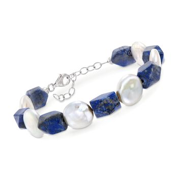 "Lapis and 13-14mm Cultured Pearl Bracelet in Sterling Silver. 7.5"", , default"