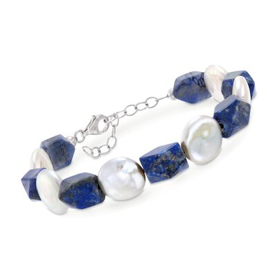 Lapis and 13-14mm Cultured Pearl Bracelet in Sterling Silver, , default