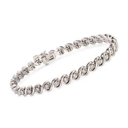 1.00 ct. t.w. Diamond San Marco Link Bracelet in Sterling Silver, , default