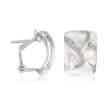 """Belle Etoile """"Sirena"""" Mother-Of-Pearl and .20 ct. t.w. CZ Hoop Earrings in Sterling Silver. 1/2"""", , default"""