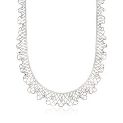 "C. 1990 Vintage 1.00 ct. t.w. Diamond Mesh Necklace in 18kt White Gold. 16.5"", , default"