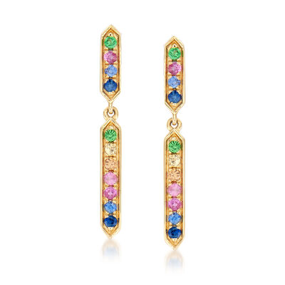 .20 ct. t.w. Multicolored Sapphire Linear Drop Earrings in 14kt Yellow Gold, , default