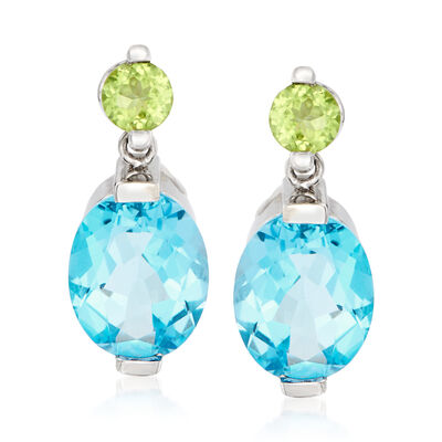 C. 1980 Vintage 5.60 ct. t.w. Sky Blue Topaz and .35 ct. t.w. Peridot Drop Earrings in 14kt White Gold, , default