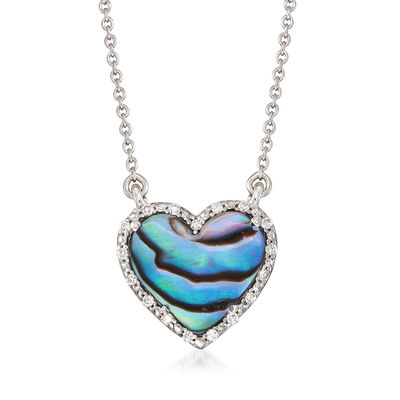 Abalone Shell Heart Necklace With Diamond Accents in Sterling Silver, , default