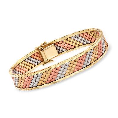 C. 1980 Vintage 14kt Tri-Colored Gold Link Bracelet