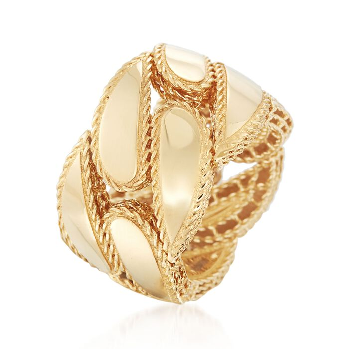 """Roberto Coin """"Gourmette"""" 18kt Yellow Gold Ring"""