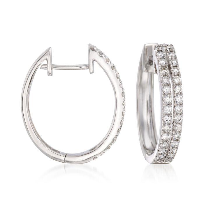 .50 ct. t.w. Diamond Two-Row Hoop Earring in 14kt White Gold