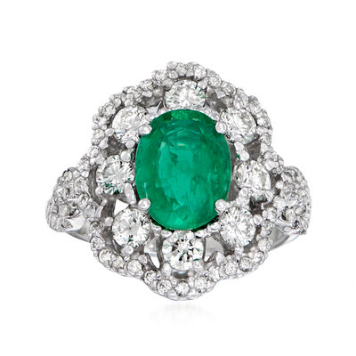 1.70 Carat Emerald and 1.20 ct. t.w. Diamond Ring in 14kt White Gold
