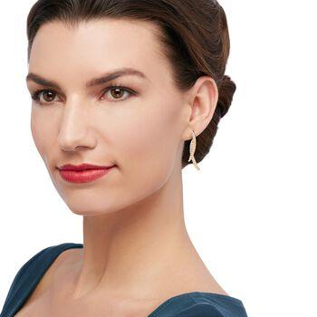 .70 ct. t.w. CZ Double Linear Curve Drop Earrings in 14kt Yellow Gold, , default