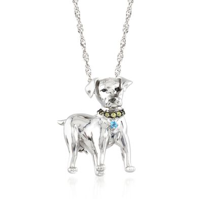 .15 ct. t.w. Multi-Stone Dog Pin Pendant in Sterling Silver, , default