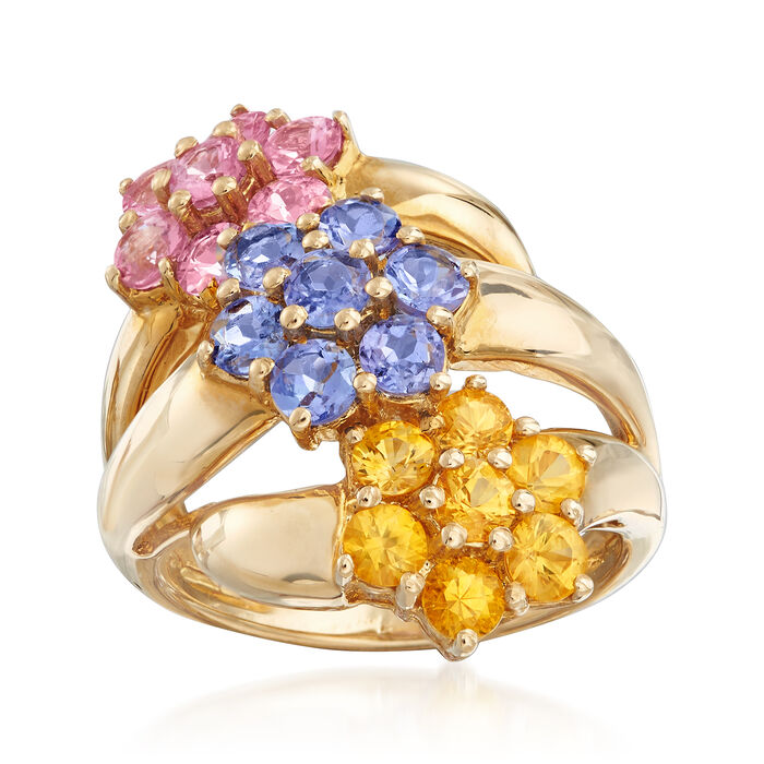 C. 1990 Vintage 3.15 ct. t.w. Multicolored Sapphire Flower Ring in 14kt Yellow Gold. Size 6, , default
