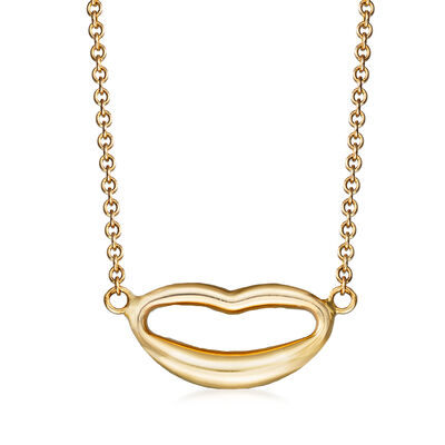 Italian 14kt Yellow Gold Lips Necklace