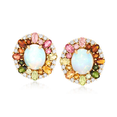 Ethiopian Opal, 4.70 ct. t.w. Multicolored Tourmaline and 1.60 ct. t.w. White Zircon Earrings in 14kt Gold, , default