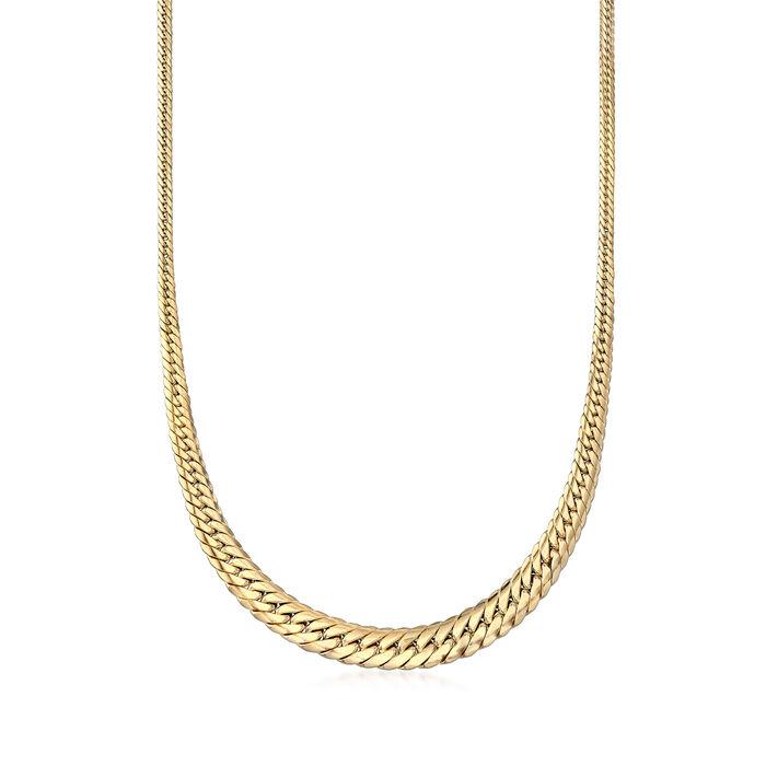 Italian 18kt Yellow Gold Graduated Cuban-Link Necklace, , default