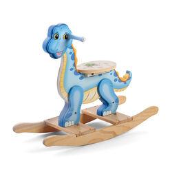 Child's Blue Wooden Dinosaur Rocker, , default