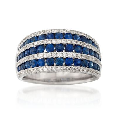 1.70 ct. t.w. Sapphire and .51 ct. t.w. Diamond Dome Ring in 18kt White Gold, , default