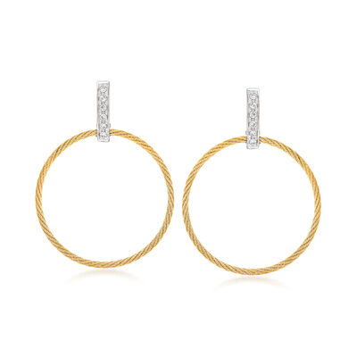 "ALOR ""Classique"" .10 ct. t.w. Diamond Yellow Stainless Steel Open-Circle Drop Earrings with 18kt White Gold"