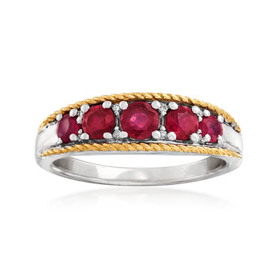 .80 ct. t.w. Ruby Five-Stone Ring with Diamond Accents in Sterling Silver and 14kt Yellow Gold, , default