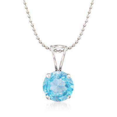 2.00 Carat Blue Topaz Solitiare Necklace in 14kt White Gold, , default