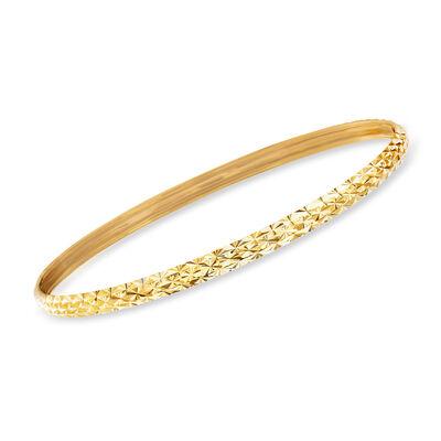 Italian 18kt Yellow Gold Diamond-Cut Bangle Bracelet, , default