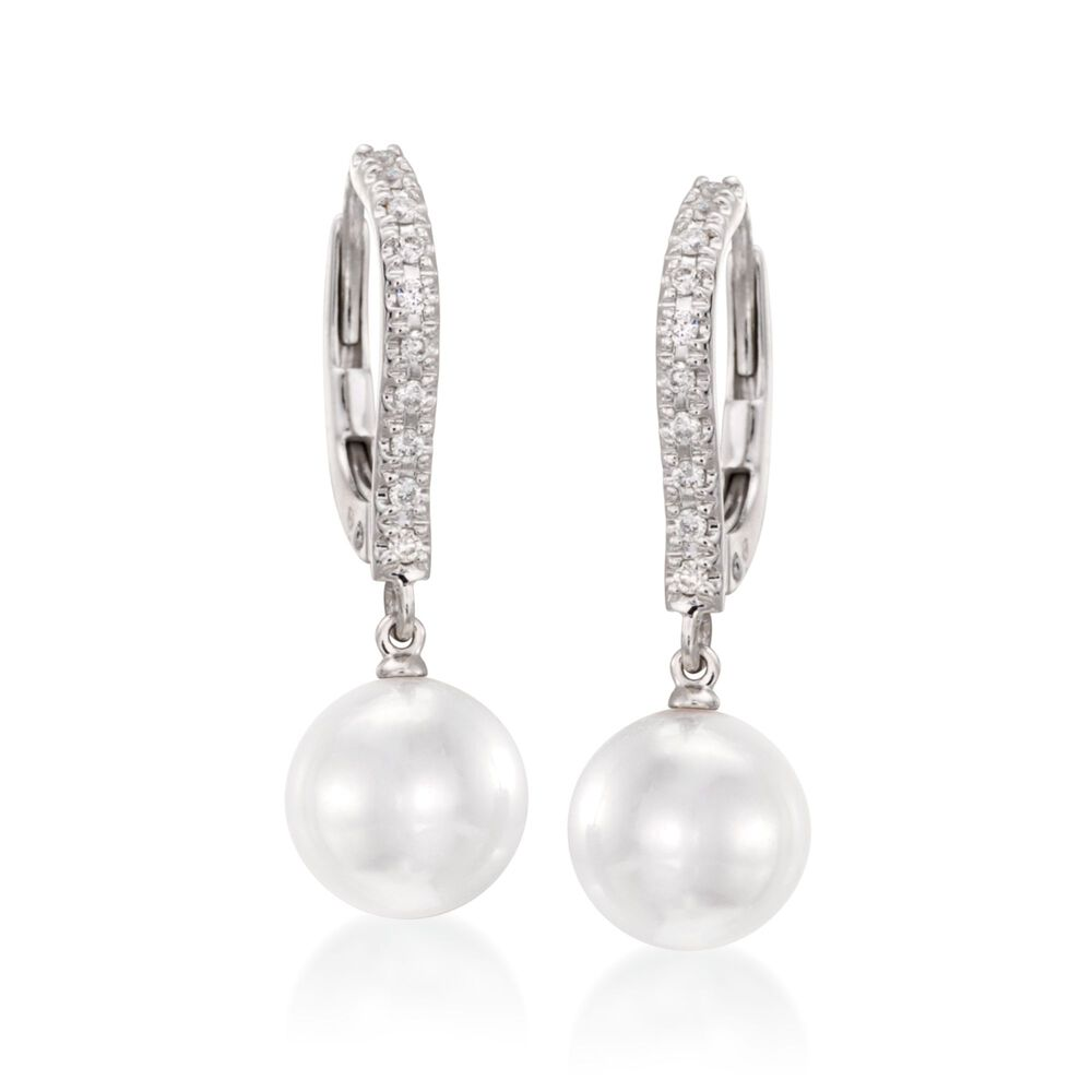 Mikimoto 7 5mm Akoya Pearl Drop Earrings With Diamonds In 18kt White Gold Default