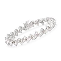 Italian Sterling Silver Beveled San Marco Bracelet, , default