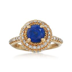 C. 1990 Vintage 2.25 Carat Sapphire and .75 ct. t.w. Diamond Ring in 14kt Yellow Gold. Size 7, , default
