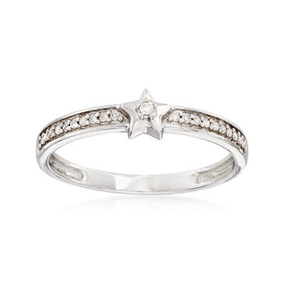 Sterling Silver Star Ring with Diamond Accents, , default