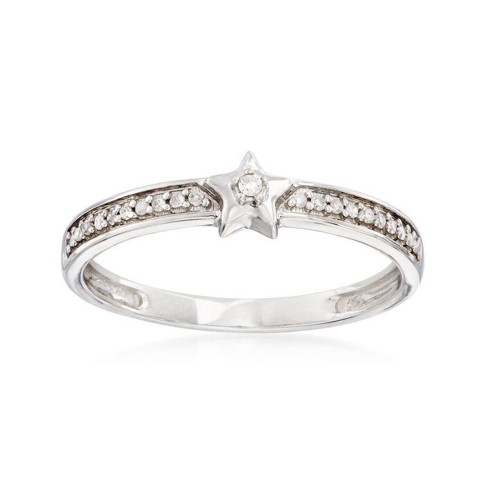 14kt White Gold Star Ring with Diamond Accents