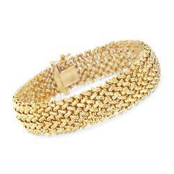 Italian 14kt Yellow Gold Riso Bracelet, , default