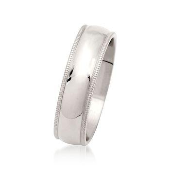 Men's 6mm 14kt White Gold Milgrain Wedding Ring, , default