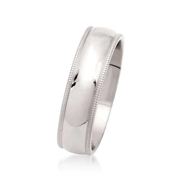 Men's 6mm 14kt White Gold Milgrain Wedding Ring