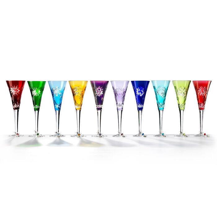 "Waterford Crystal ""Snowflake Wishes"" 10-Piece Multicolored Prestige Flute Set, , default"