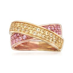 C. 2000 Vintage 3.15 ct. t.w. Pink and Yellow Sapphire Crisscross Ring in 18kt Two-Tone Gold. Size 7, , default