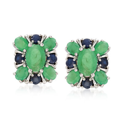 2.20 ct. t.w. Emerald and .40 ct. t.w. Sapphire Cluster Earrings in Sterling Silver
