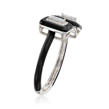 .21 ct. t.w. Diamond Open-Space Ring with Black Enamel in 18kt White Gold. Size 7