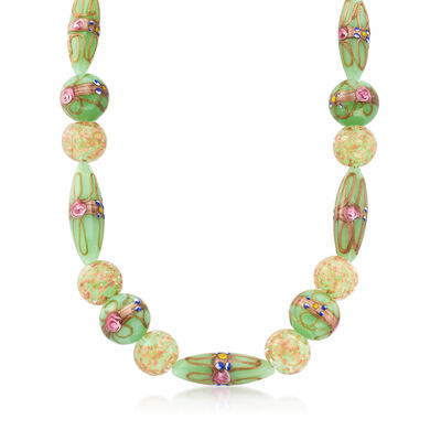 Green and Pink Murano Glass Bead Necklace with 14kt Gold Over Sterling, , default