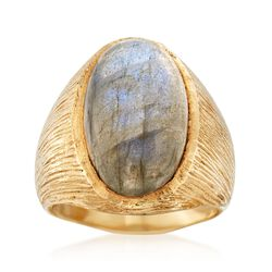 Cabochon Labradorite Textured Ring in 18kt Gold Over Sterling, , default