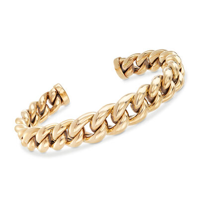 Italian Graduated Link Cuff Bracelet in 14kt Yellow Gold, , default