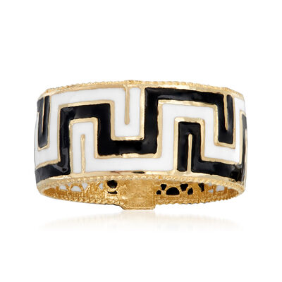 Italian Black and White Enamel Greek Key Ring in 14kt Yellow Gold