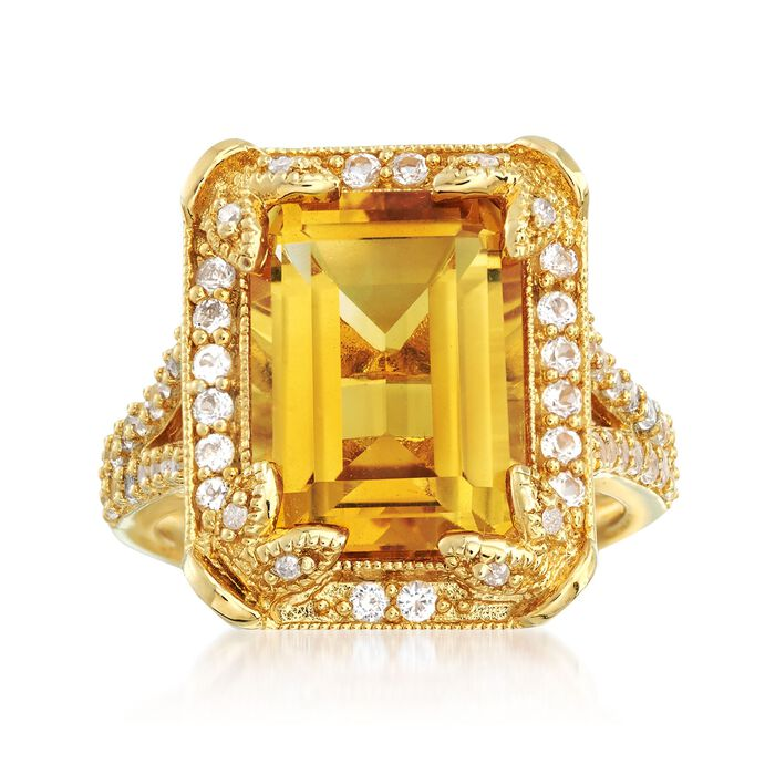 6.00 Carat Citrine and 1.30 ct. t.w. White Topaz Ring with Diamonds in 14kt Gold Over Sterling